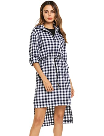 618fe1cd8fe Zeagoo Women Vintage Button Dress Irregular HemTurn Down Collar Plaid Shirt  Dress