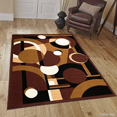 Allstar 8×11 Dark Brown Modern and Contemporary Rectangular Accent Rug with Ivory, Mocha and Espresso Geometric Multiple Circle Design 7 6 x 10 5