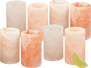 """Himalayan Salt Shot Glasses, Set of 8 All-Natural 3"""" Pink Salt Glasses -Tequila Shot Glasses (Set of 8) - Great Father's Day Gift"""