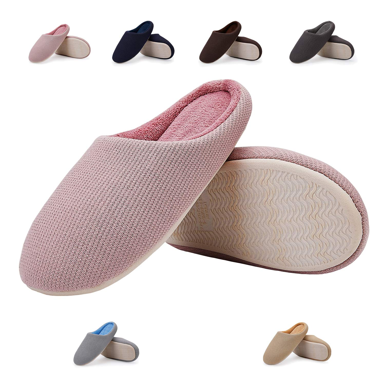 EASTSURE Women Indoor Slippers Memory Foam House Shoes with Anti-Slip Sole,Pink 36-37