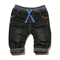 M&Co Baby Boy Cotton Rich Black Wash Elasticated Rib Waistband Pocket Turn up Jeans