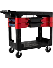 Rubbermaid Commercial Products FG618000BLA Service Cart with 2x Boxes and 4x Bins, Black