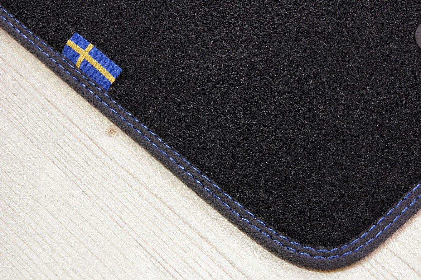 Tuning-Art D103 Svezia Design Tappetini con Bordatura Lettering e Doppia Cucitura