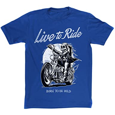 ac3a67095 Mens Live To Ride Born To Be Wild Biker Motorcycle T-shirt (royalblue/print  xlarge): Amazon.co.uk: Clothing