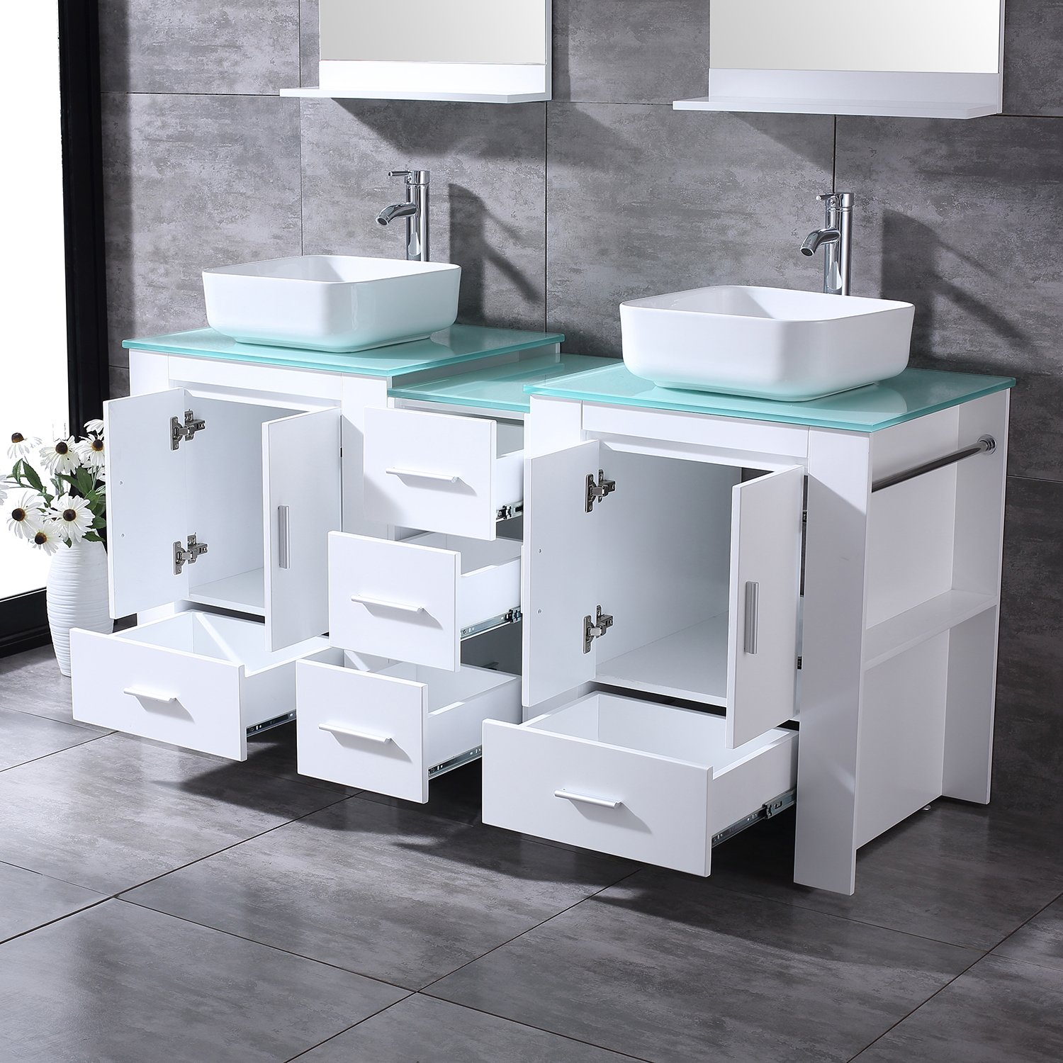 """BATHJOY Luxury 60"""" White Bathroom Double Wood Vanity Cabinet with Square Ceramic Vessel Sink and Mirrors Faucet Drain Combo by BATHJOY (Image #5)"""