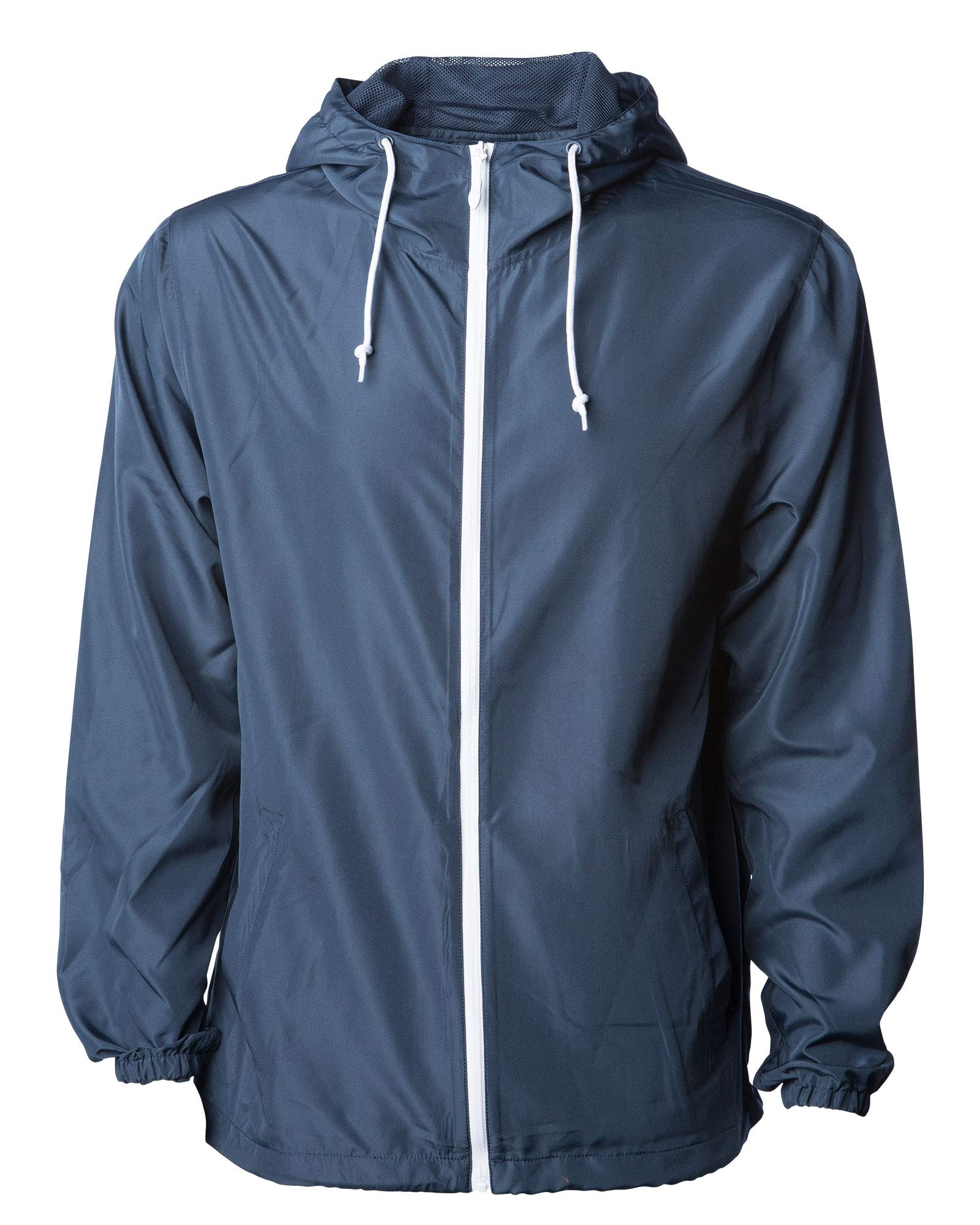 Global Men's Hooded Lightweight Windbreaker Winter Jacket Water Resistant Shell (Navy/White, X-Large)
