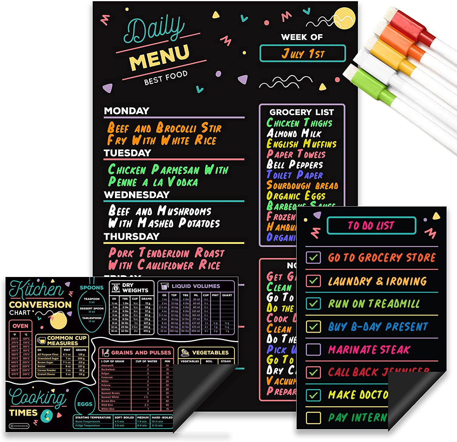 Magnetic Dry Erase Menu Board for Kitchen Refrigerator Set with Markers - Weekly Meal Planner, Cooking Conversion Chart & to-Do List - Chalkboard Style Dinner Planning Magnet Fridge Boards 3-Pack
