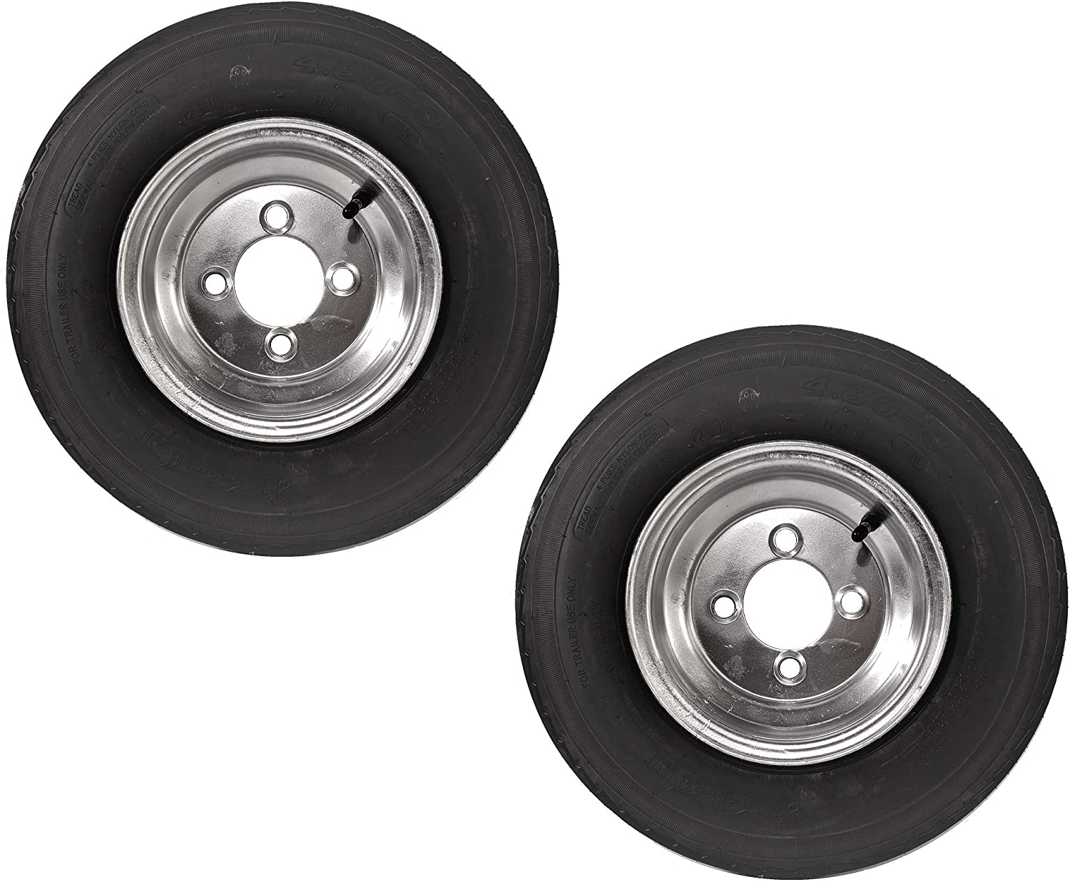 2-Pack Trailer Tires On Galvanized Wheel Rims 480-8 4.80-8 4.80 x 8 Load C 4 Lug