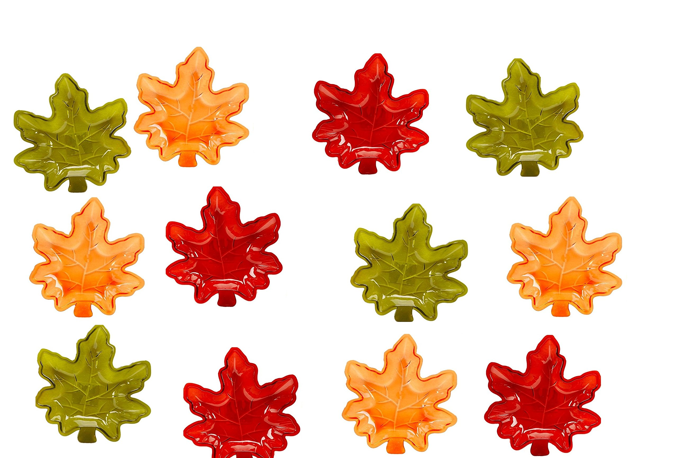 Fall Autumn Maple Leaf Stackable Salsa Bowls, Snack, Dip, Crackers, Olives, Nuts or Candy (12, Fall Harvest Multi)