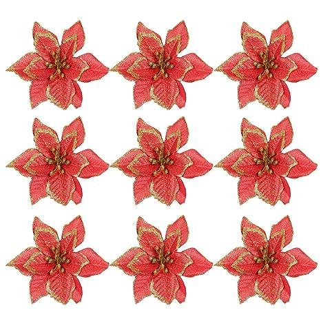 Immagini Natale Glitter.Gosear 10 Pz Natale Glitter Artificiale Fiori Ornamenti Decorazioni Per Natale Albero Corone Partito Matrimonio C