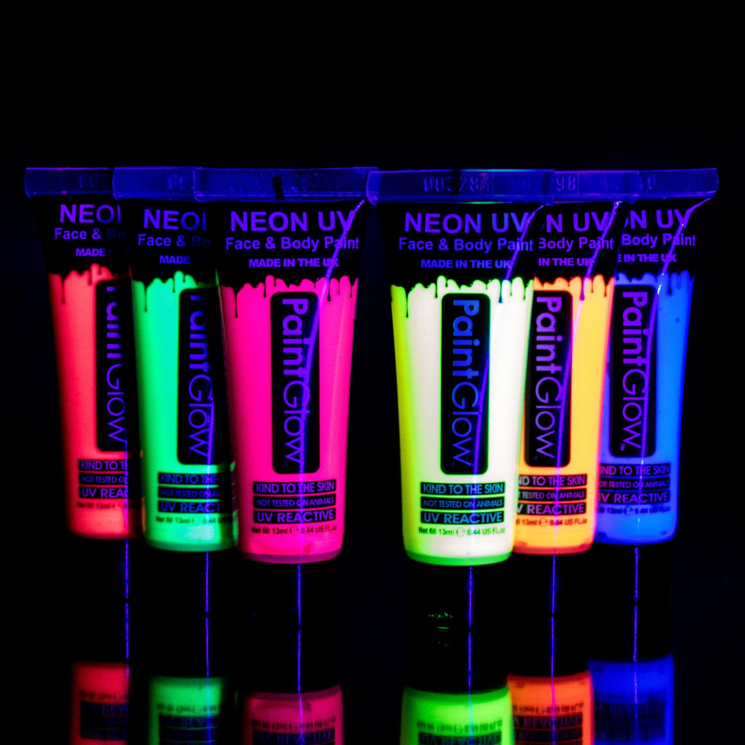UV Glow Blacklight Face and Body Paint 0.34oz - Set of 6 Tubes - Neon Fluorescent by UV Glow
