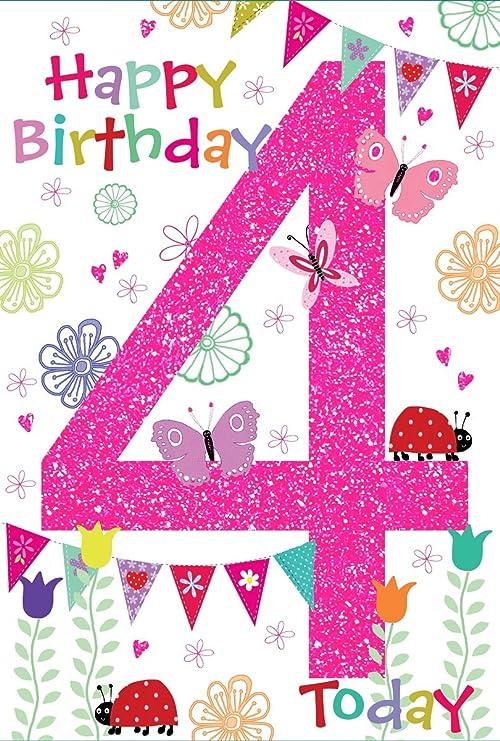 Edad de Oro 4 chica Tarjeta de cumpleaños - niña en globo de ...
