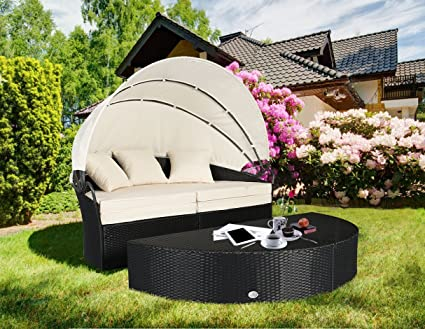 Incredible Cloud Mountain 4 Pc Cushioned Outdoor Wicker Patio Furniture Set Garden Lawn Rattan Sofa Furniture Round Circular Retractable Canopy Daybed With Download Free Architecture Designs Embacsunscenecom