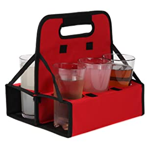 Outdoor Sport Reusable Cup Carrier | Holds 6 Cups or Cans | Sturdy Frame & Solid Base | Folds Flat