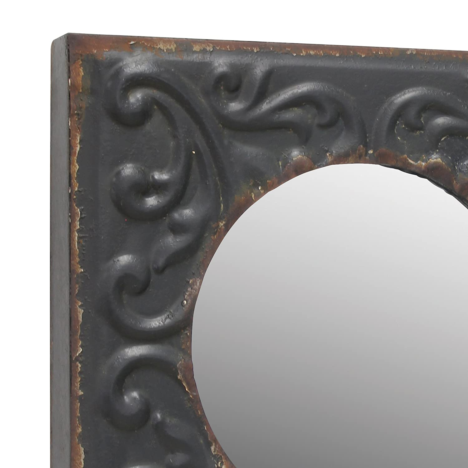 Stonebriar Round Mirror with Distressed Square Metal Tin Frame ; Industrial Wall Decor ; Distressed Finish ; With Attached Wall Hanger CKK Home Décor SB-6072M