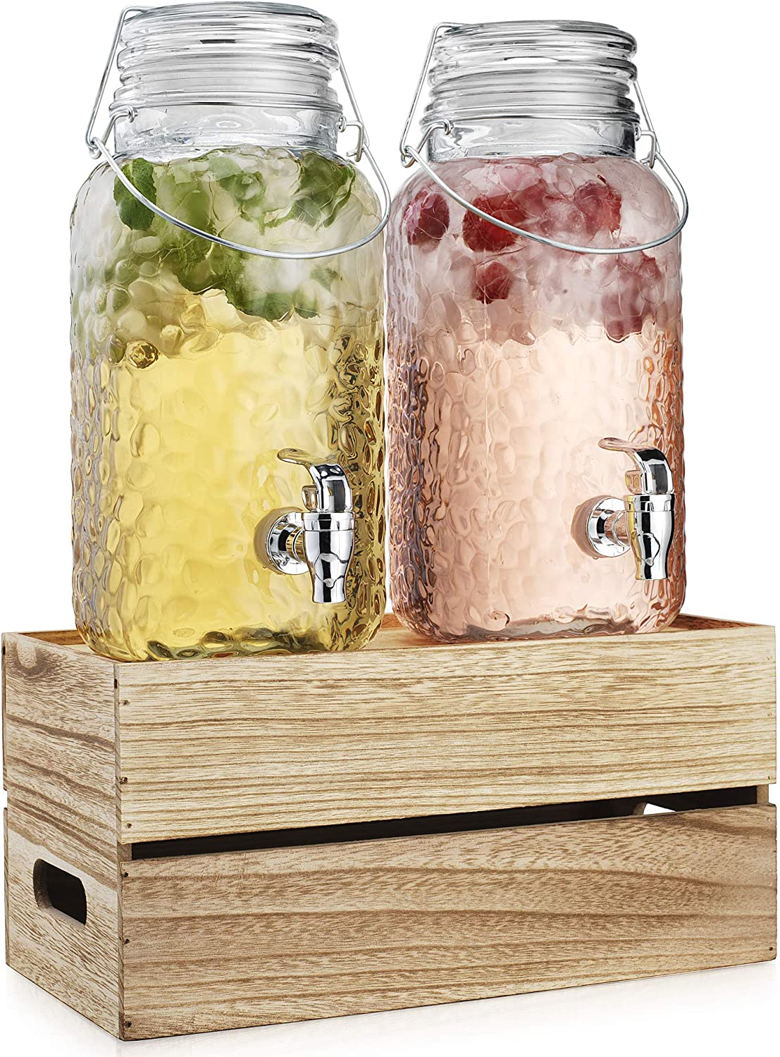 Two (2) 1 Gallon Each Quality Ice Cold Hammered Clear Glass Mason Jug Beverage Dispensers With Wood Display Stand- Wide Mouth Easy Filling For Outdoor, Parties & Daily Use