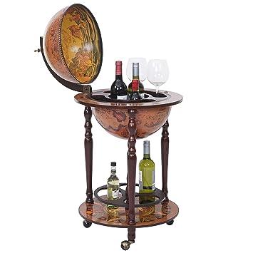 Globe Terrestre, Bar De Salon HWC T874, Minibar Roulant, Bois Du0027