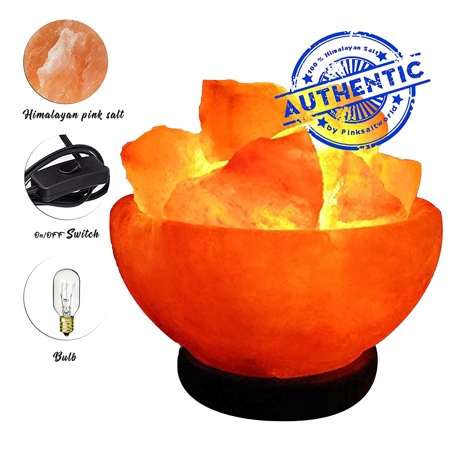 Christmas Gifts Himalayan Natural Rock Salt Lamp Heart Shape Stylish Wood Base /& Bulb with On and Off Switch 6-8 Inches 5-7 lbs