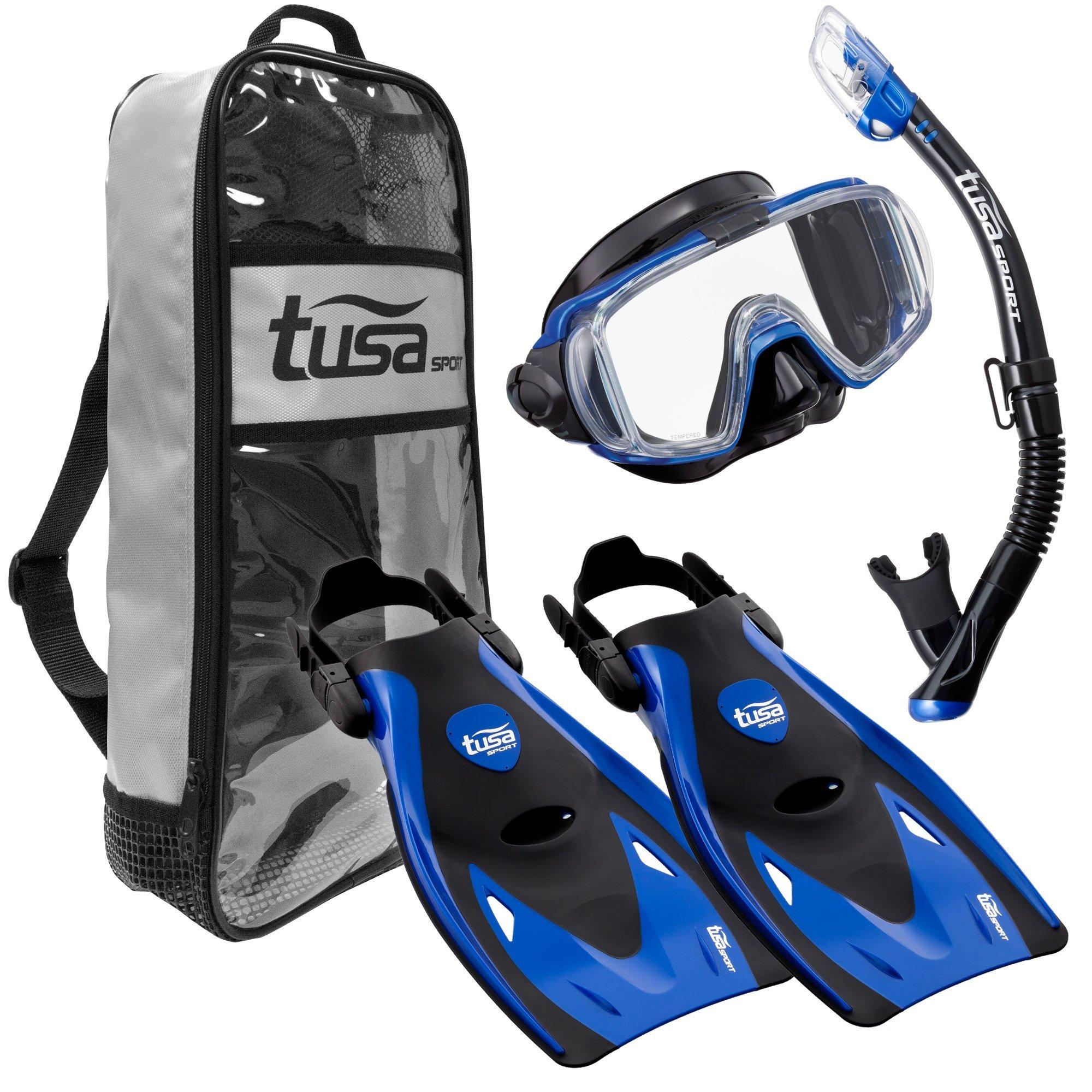 TUSA Sport Adult Black Series Visio Tri-Ex Mask, Dry Snorkel, and Fins Travel Set, Black/Metallic Blue, Large