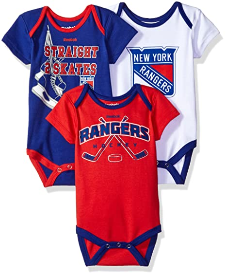 44bf980b3b4 Outerstuff NHL Newborn Rangers Hat Trick 3Piece Bodysuit Set, 0-3 Months,  Royal