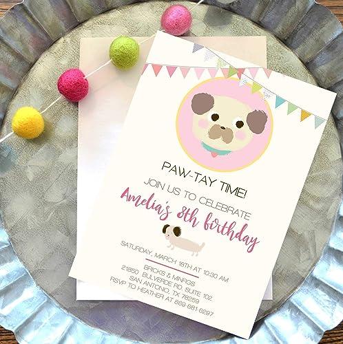Amazon Com Animal Theme Birthday Invitations Dog Birthday Party