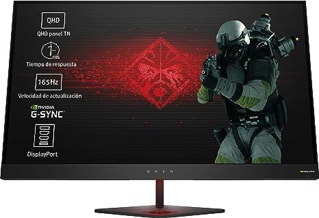 HP OMEN 27 - Monitor gaming de 27 pulgadas G-sync + altura ajustable (QHD, 1ms, 165 Hz, Nvidia G-Sync, 2560 x 1440 pixeles), color negro: Hp: Amazon.es: Informática