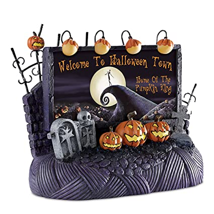 welcome to halloween town billboard tim burton nightmare before christmas village accessory by hawthorne village - Hawthorne Village Nightmare Before Christmas