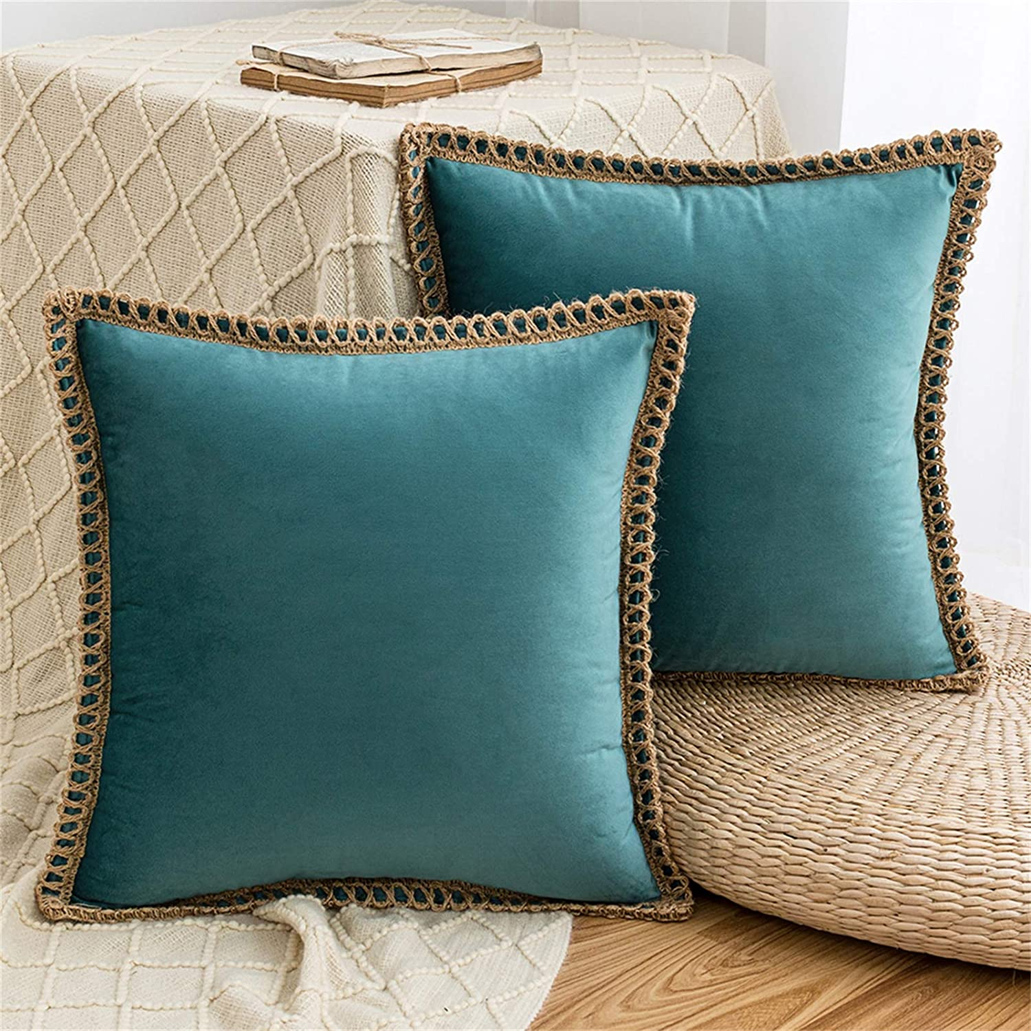 AQOTHES Pack of 2 Velvet Decorative Farmhouse Burlap Trimmed Tailored Edges Decor Pillow Cover Cushion Throw Pillows for Couch Sofa, 18 x 18 Inch, Teal