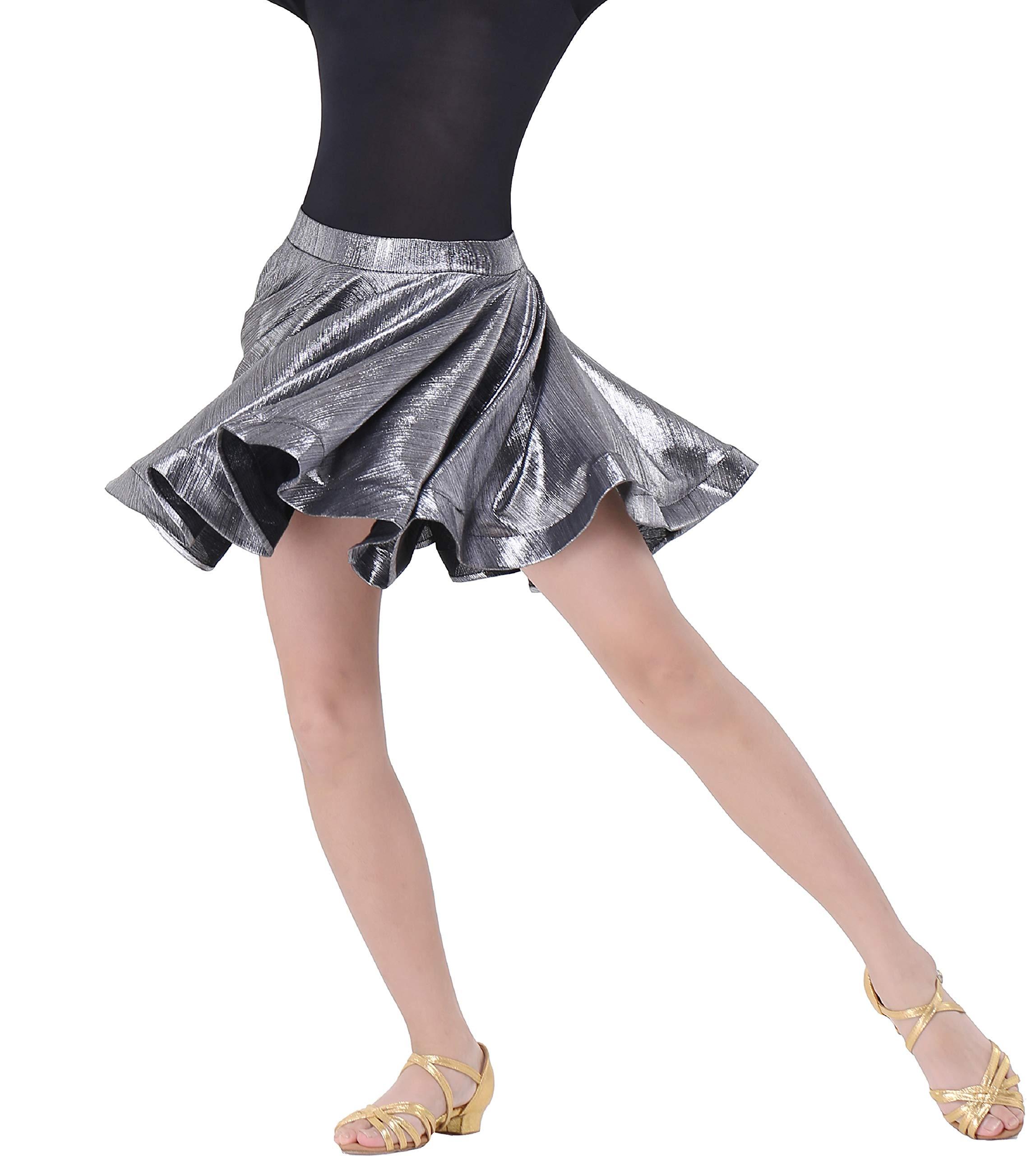 JEZISYMA Girls' Latin Salsa Ballroom Practice Dance Skirt (XL, Silver) by JEZISYMA
