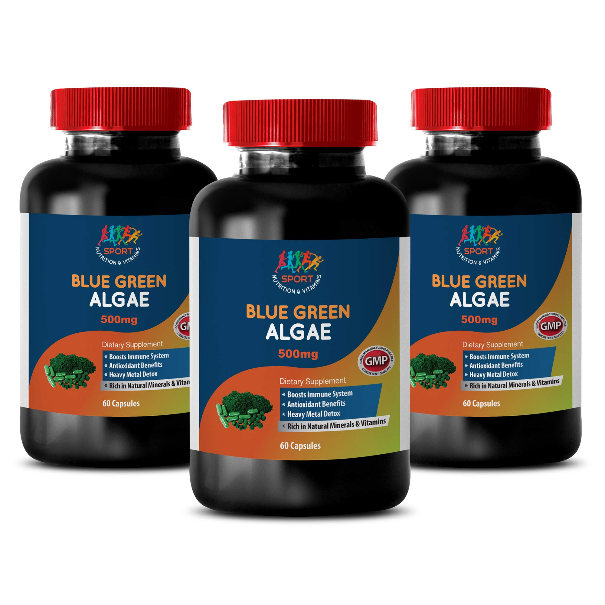 antioxidant Vitamins for Men - Organic Blue Green Algae 500mg - stem Cell Skin Repair - 3 Bottles 180 Capsules