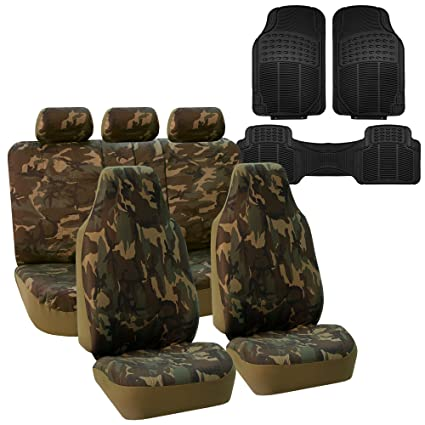 FH GROUP FB109115 Dark Camouflage Car Seat Covers Airbag Compatible Split With F11306
