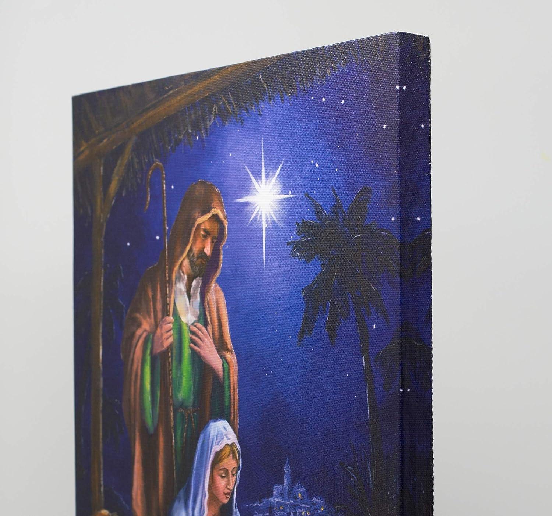 Maria Josef und Jesuskind in einem Krippenstall religi/öses Bild Motiv Krippe fertig zum Aufh/ängen mit LED-Beleuchtung beleuchtet Bild wie Druck Leinwandbild