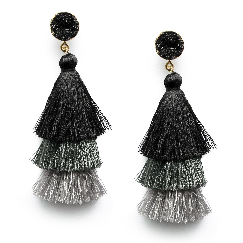 Me&Hz Colorful Layered Tassel Earrings Bohemian Dangle Drop Tiered Tassel Druzy Stud Earrings Women Gifts ME04T16
