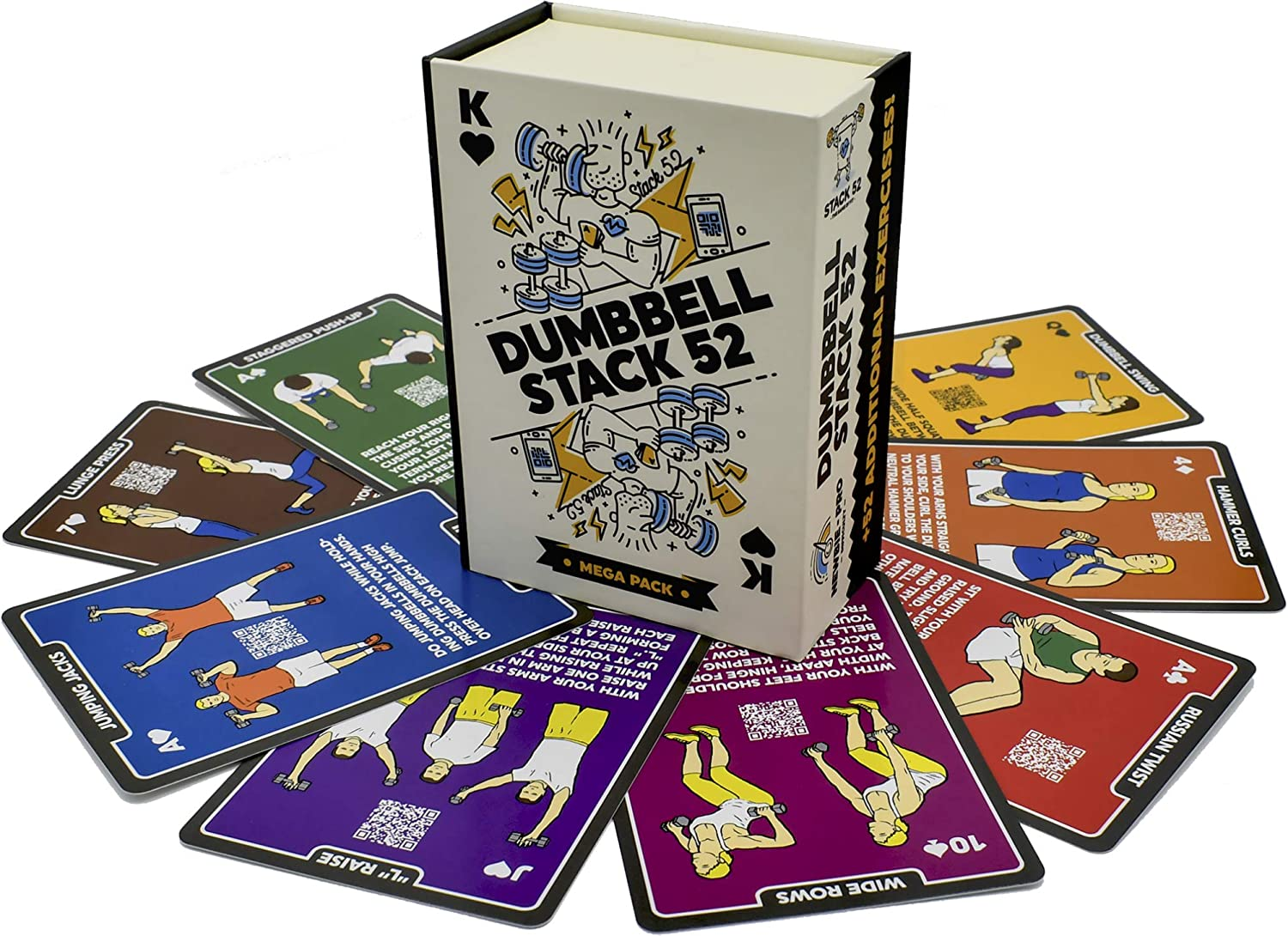 Stack 52 Dumbbell Exercise Cards. Dumbbell Workout Playing Card Game. Video Instructions Included. Perfect for Training with Adjustable Dumbbell Free Weight Sets and Home Gym Fitness.