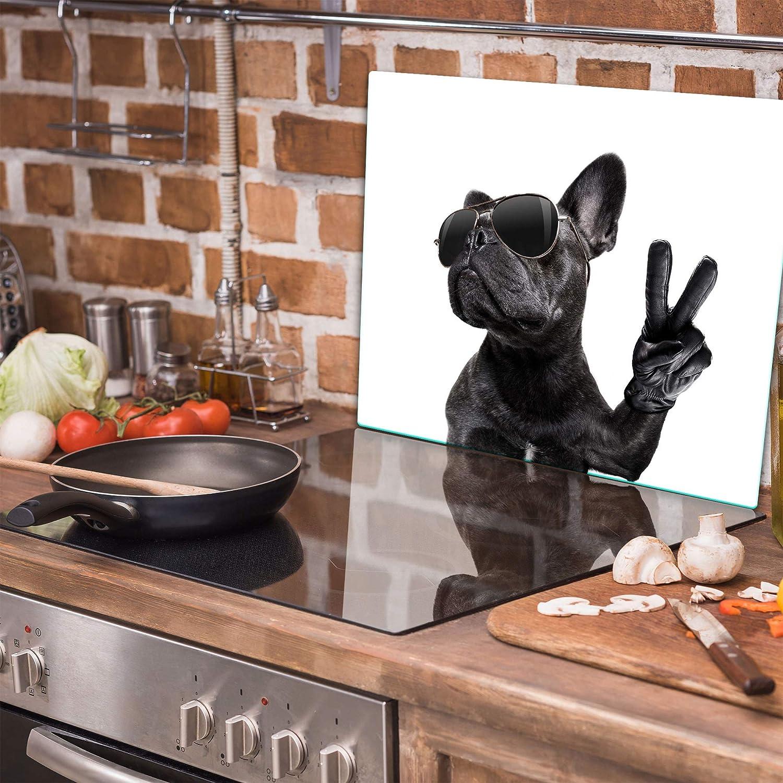 Herdabdeckplatte 60x52 Einteilig Glas Elektroherd Induktion Herdschutz Spritzschutz Glasplatte Schneidebrett Hund QTA