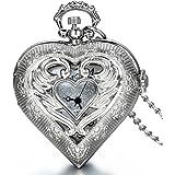 JewelryWe 大切な人や,彼氏・彼女へのプレゼント:懐中時計アンティーク風 ペンダント ウォッチ ポケットウォッチ,ハート型,合金,クリスマス バレンタイン プレゼント
