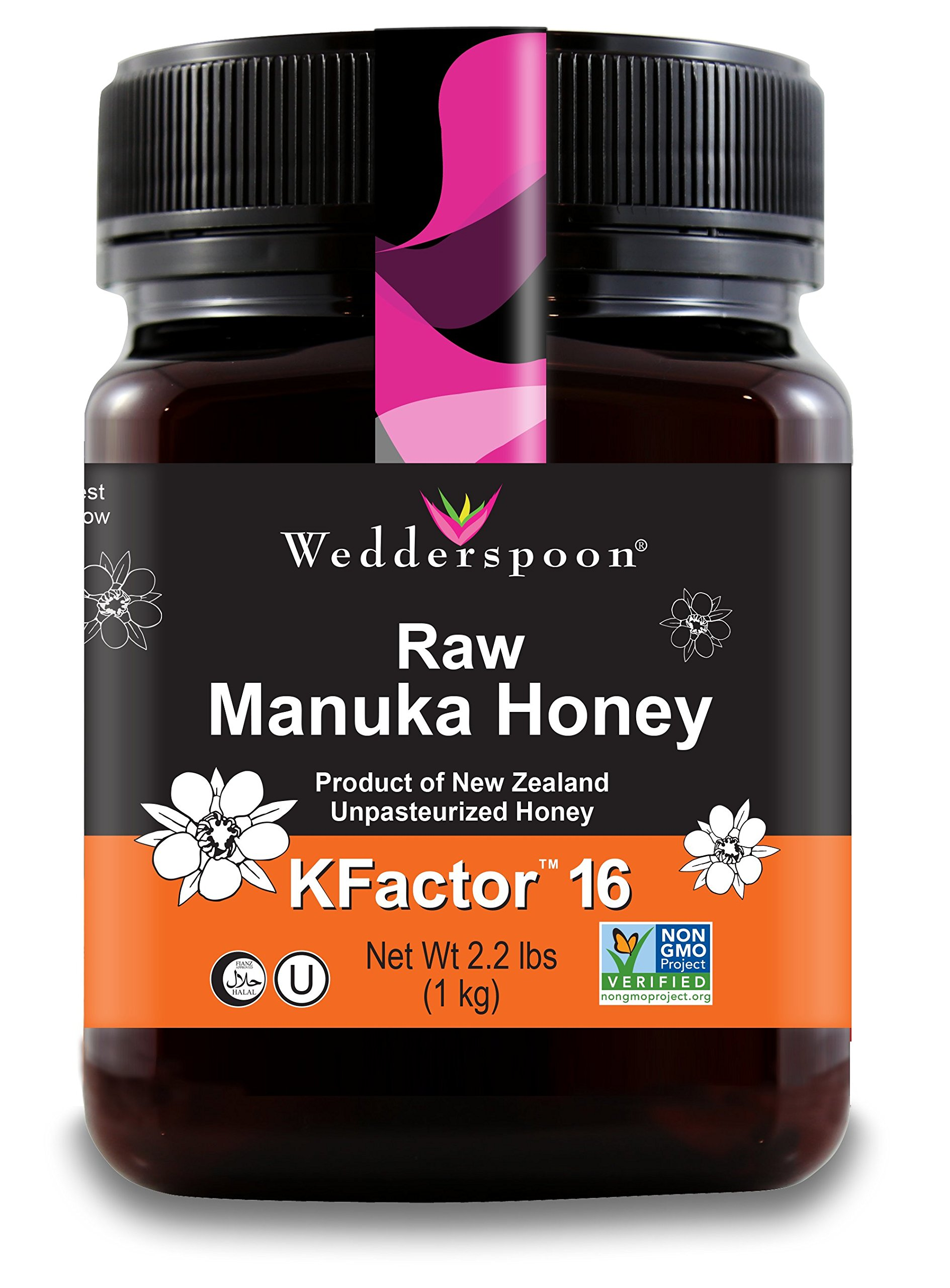 Wedderspoon Raw Premium Manuka Honey KFactor 16, Unpasteurized, Genuine New Zealand Honey, Multi-Functional, Non-GMO Superfood, 35.2 oz