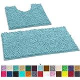 LuxUrux 浴室地毯垫套装 - 超柔软的毛绒浴室浴室地毯,2.54 厘米雪尼尔超细纤维材料,TPR 表面,超吸水。 机洗烘干 Spa 蓝色 Curved Set