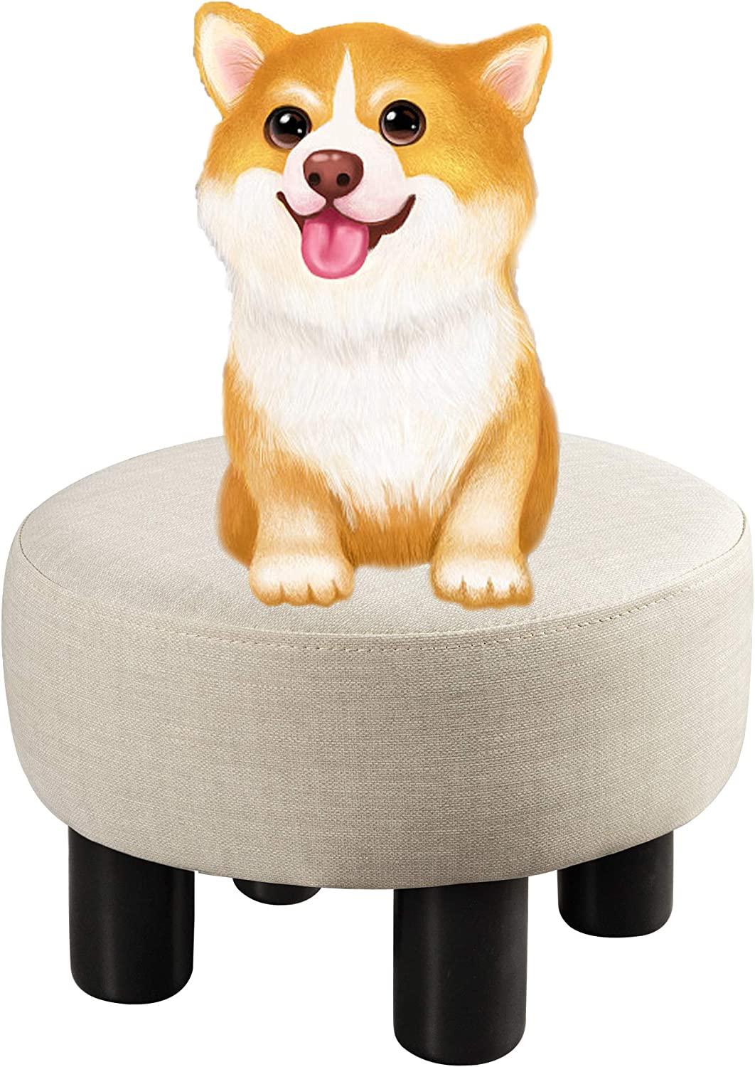 Small Foot Stools Beige, Round PU Leather Padded Ottoman Foot Rest with Non-Skid Plastic Legs, Footstools and Ottomans Small Comfy Footstool upholstered for Couch, Desk, Office, Living Room