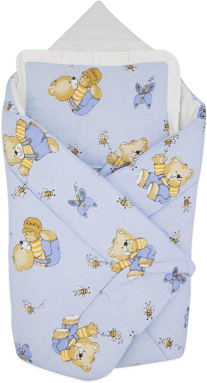 BlueberryShop manta de algodón para bebés con almohada | Saco de dormir para bebés recién nacidos | Regalo perfecto para Baby Shower | 78 x 78 cm | Azul Peluche