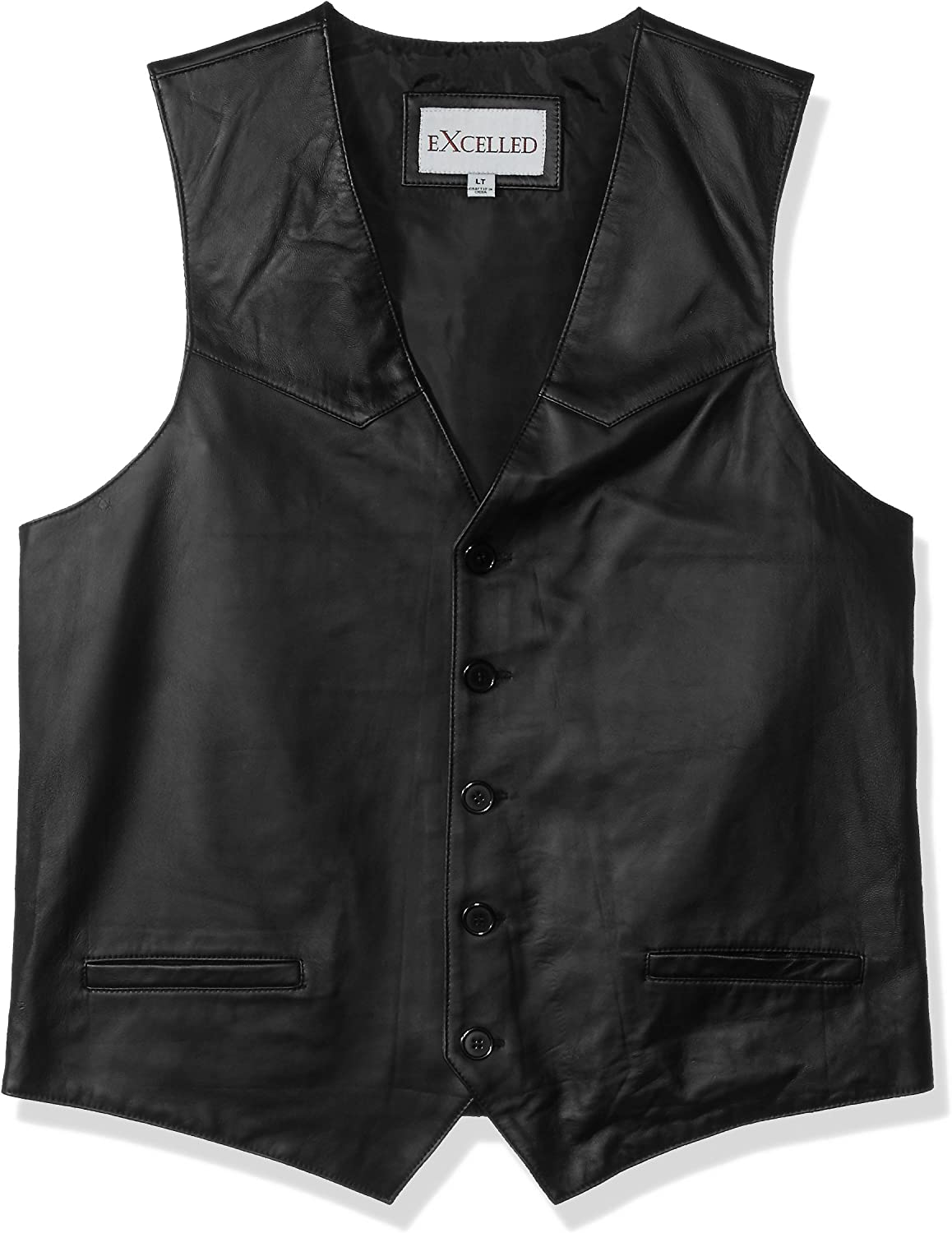 Excelled Leather Mens Premium Soft Lambskin Leather Vest Leather Jacket