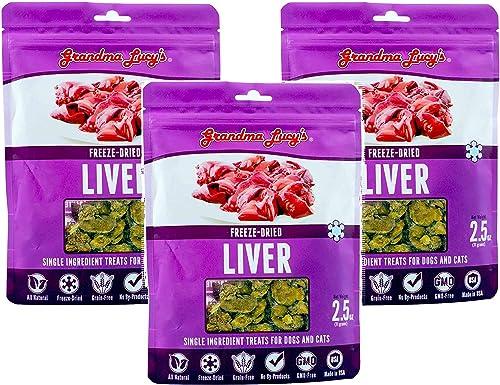 Grandma Lucys 3 Pack of Freeze Dried Liver Singles Pet Treats, 2.5 Ounces each
