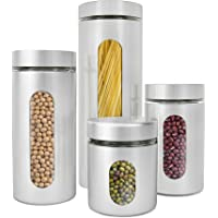 Estilo 4 Piece Brushed Stainless Steel & Glass Canisters with Window