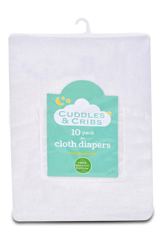 Cuddles & Cribs Organic Cotton Cloth Diapers/Burp Cloth - 10 Pack, Flat Sleepworld International