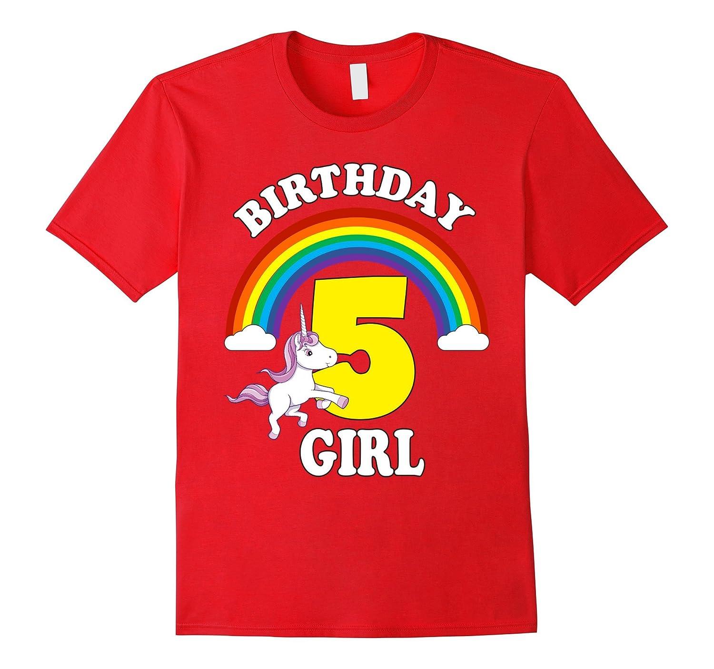 Unicorn Rainbow Birthday Shirt For Girls Age 5 Five Cute TD Teedep