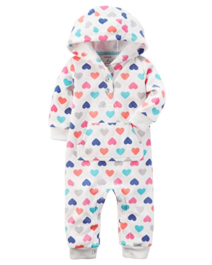 746cd7ddcbc7 Amazon.com  Carters Baby Girls Fleece Hooded Romper Jumpsuit