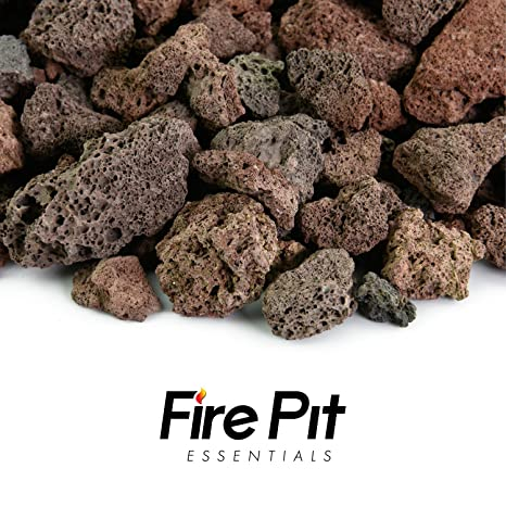 "Fire Pit Essentials 10-pound 3/4"" Medium Red Lava Rock for Fireplace - Amazon.com : Fire Pit Essentials 10-pound 3/4"