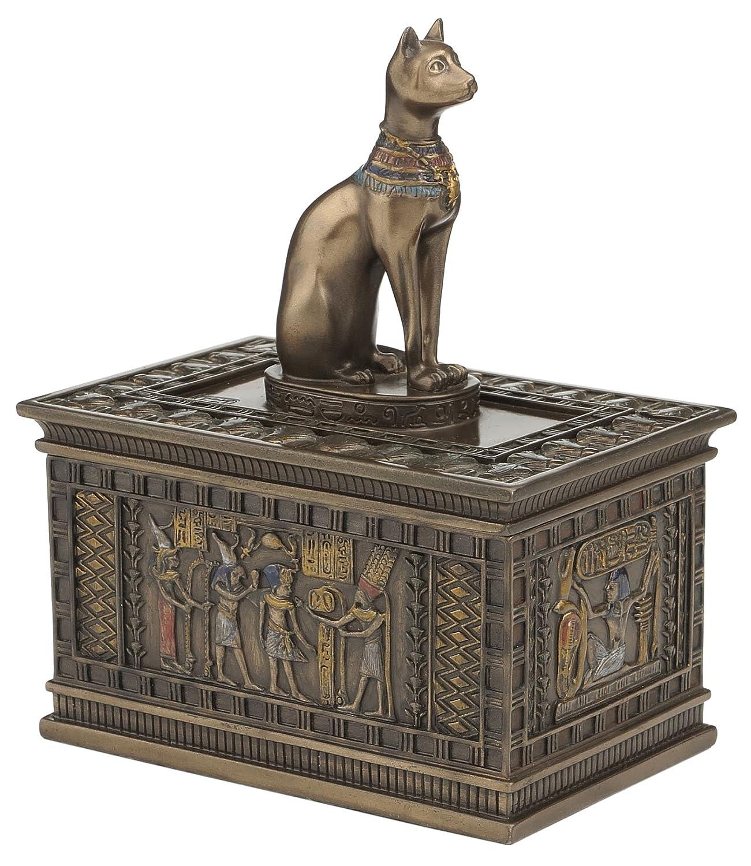 Sale - Bronze Egyptian Bastet Jewelry Trinket Box Francescaskitchen tl