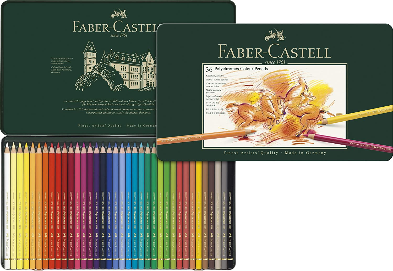 estuche de metal Faber-Castell Polychromos 36 lápices de colores