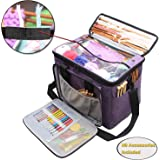 "Teamoy Knitting Bag, Yarn Tote Organizer with Inner Divider (Sewn to Bottom) for Crochet Hooks, Knitting Needles(up To 14""), Project and Supplies, High Capacity, Easy to Carry-No Accessories Included"